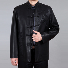 Autumn and winter male sheepskin jacket manteau de cuir  plus size embroidery belt Leather tang suit stand collar