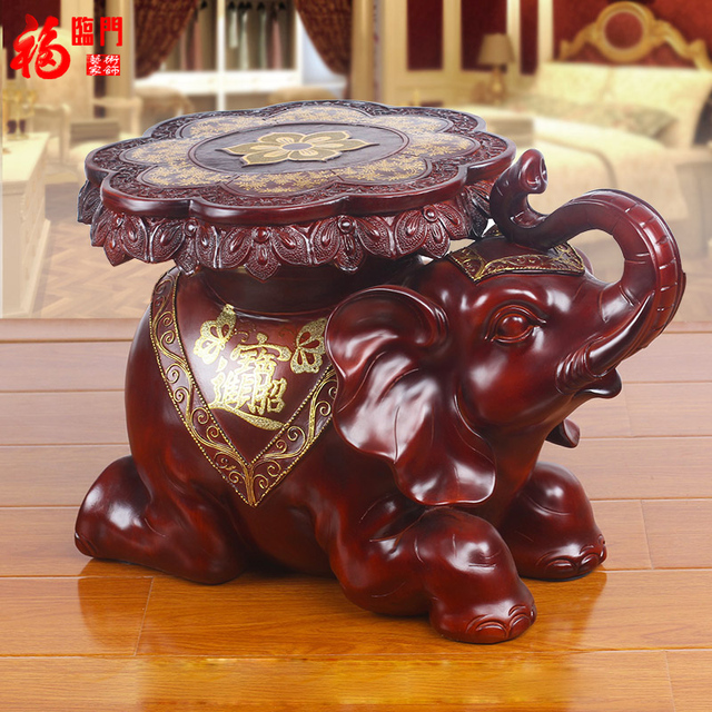 Fulin Door For Shoes Stool Imitation Wood Resin Elephant Decoration Home Decorations Move The Living Room Gifts