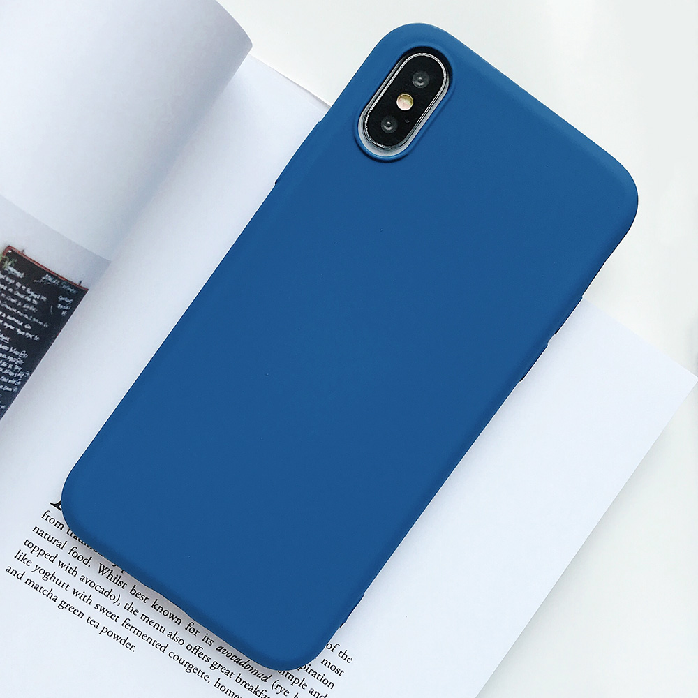 KIPX1124L_1_JONSNOW Pure Color Silicone Case for iPhone XS XR XS Max 6 6S 6P 7 8 Plus Ultra-thin Matte Dirt-resistant Soft TPU Solid Cover