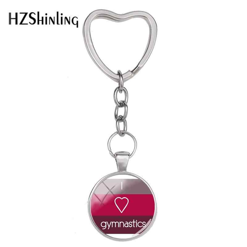2018 New I Love Gymnastics Keyring Love Tumbling Heart Keychain Silver Handmade Jewelry Glass Cabochon Key Rings Accessory