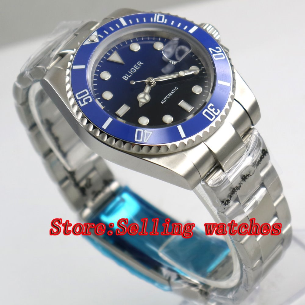 40mm Bliger black & blue Dial Sapphire Glass Stainless Steel blue ceramic bezel Luminous Mens Automatic Mechanical Watch  p01440mm Bliger black & blue Dial Sapphire Glass Stainless Steel blue ceramic bezel Luminous Mens Automatic Mechanical Watch  p014