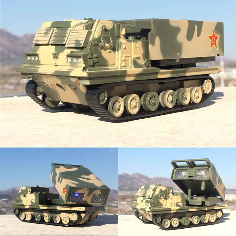 1/50 Super Fine Replica Tracked Rocket Launcher Tank Alloy Die-casting Light Music Tank Model Boy Toy Gift