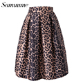Samuume 2016 Vintage High Waist Satin Leopard Print Women Midi Skirts Free Size Ball Gown Pleated Ladies Skirt Saia A150308