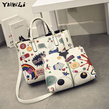 The new 2016 female bag fashion cartoon printed graffiti lash bag institute wind handbag