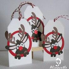 Alinaccraft металлические Вырубные штампы, вырубные рождественские олени, рудолф, Санта-Клаус, создающий скрапбук, бумажный трафарет, нож-пуансон
