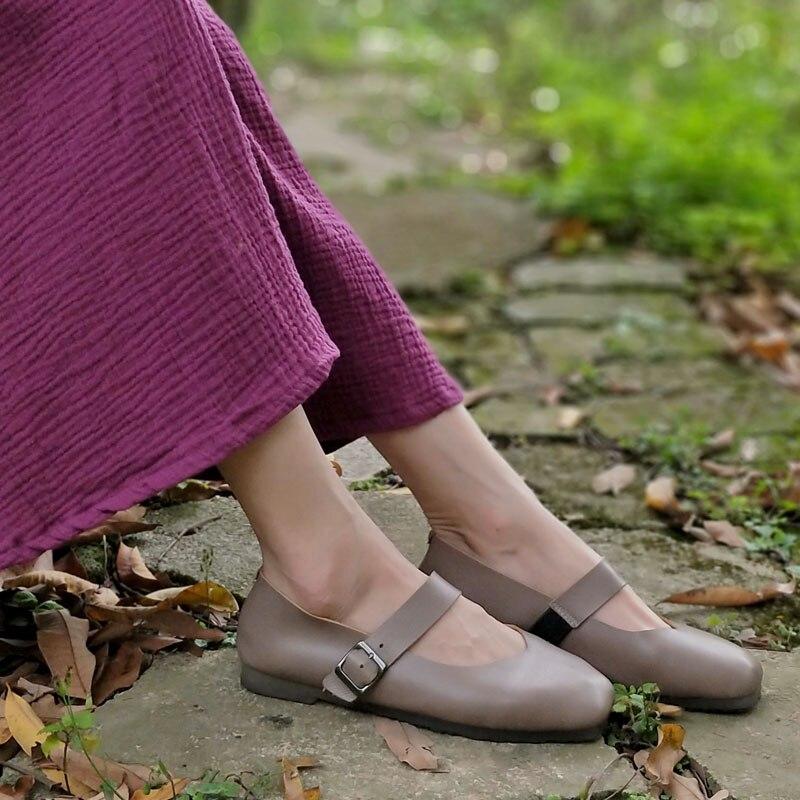 Carré Chaussures Femme 1Grey Cuir Bout Femellew156 Femmes Ballerines Véritable Plat 100En BderxCo