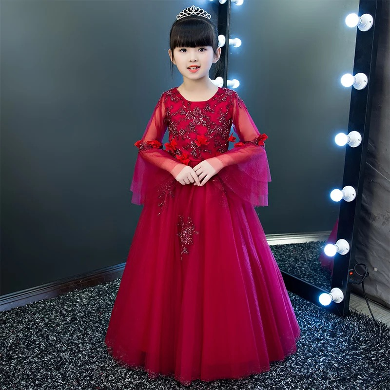New Children Girls Princess Flowers Birthday Evening Party Long Dress Kids Teenagers Ball Gown Costume Tutu Dress New Year Wear girls birthday wedding evening party embroidery flowers lace princess dress children kids model show costume pageant long dress