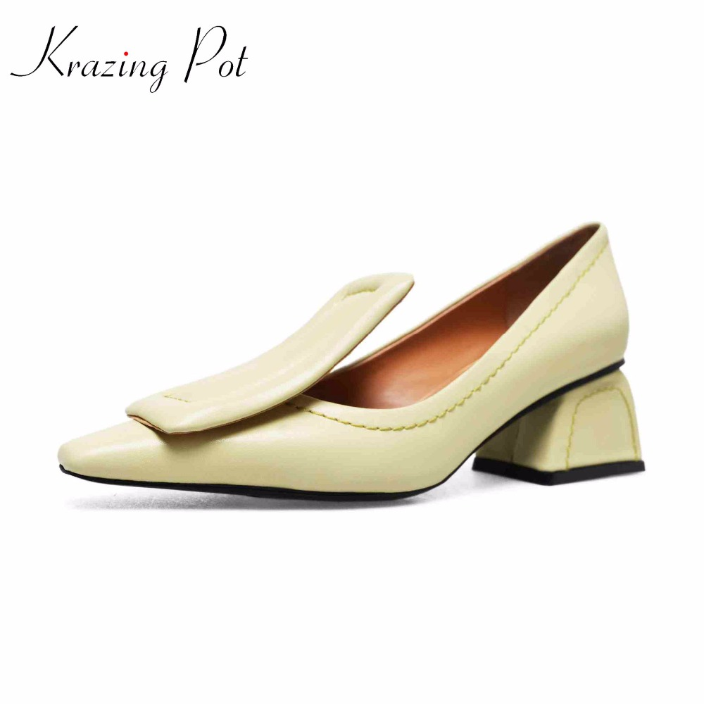 Krazing Pot high fashion genuine leather slip on pumps square toe preppy style buckle strange style heels solid brand pumps L02 krazing pot fashion brand shoes genuine leather slip on pointed toe concise lazy style strange high heels women cozy pumps l73