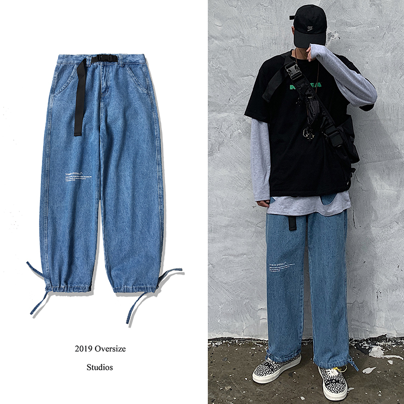 2019 Men's Letter Printing Baggy Homme Banded Casual Pants Classic Cargo Pocket Jeans Blue Biker Denim Leisure Trousers M-2XL