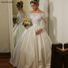 d1772097d391d Vestido De Noiva Balo Uzun Kollu Dantel Aplike gelinlikler Düğmesi Geri  Robe De Soiree Saten Prenses düğün elbisesi