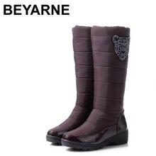 2016 new Cotton fashion waterproof snow boots women's knee high boots flat winter boots platform fur shoes size 34-40