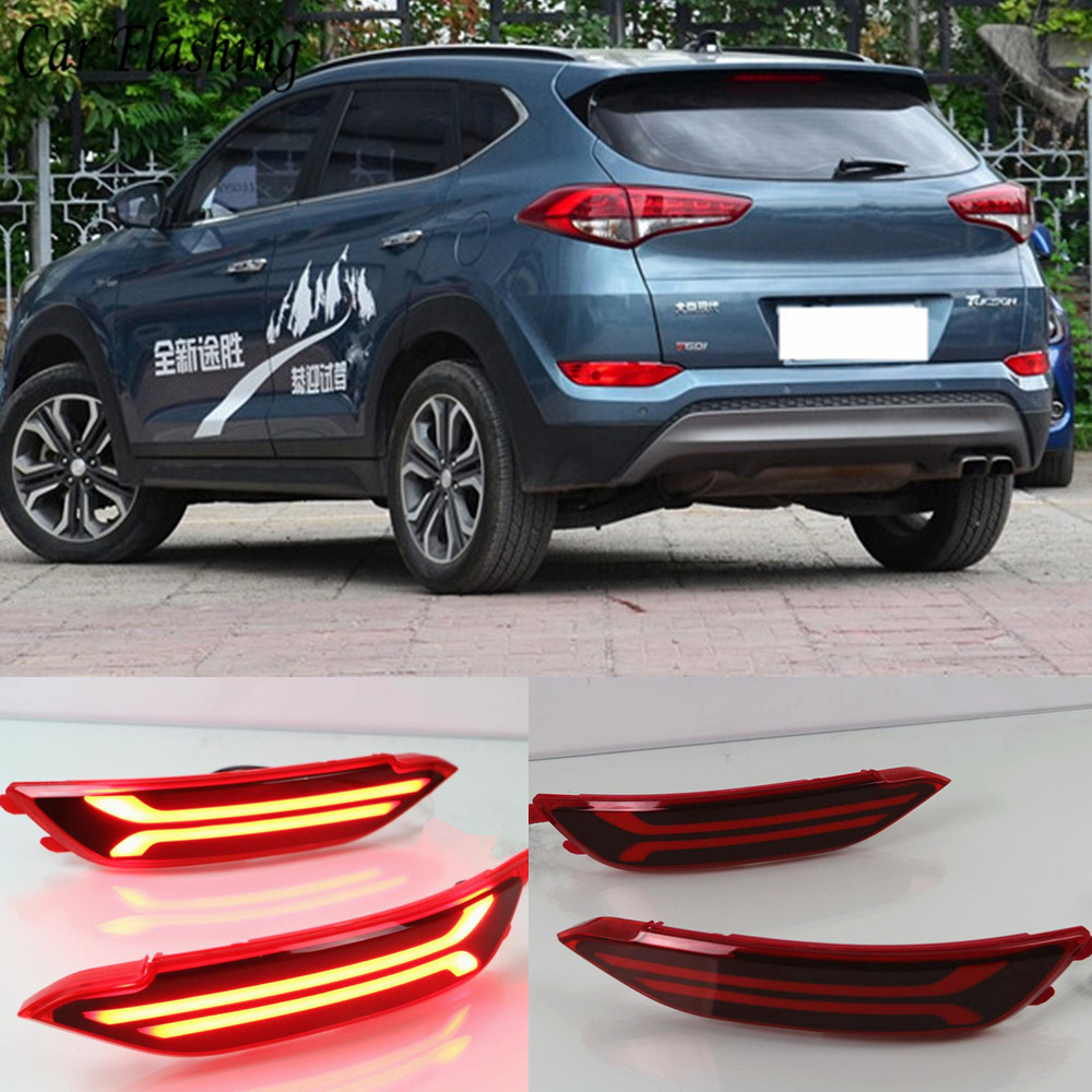 Car Flashing 1Pair For Hyundai Tucson 2015 2016 2017 2018 LED Rear Fog Lamps Bumper Reflector