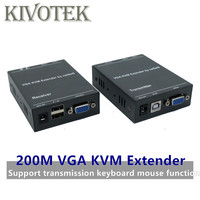 IP Network VGA KVM Extender 200M by Cat5/6 Cable Adapter 1080P RJ45 VGA Transmitte Receiver Support Keyboard Mouse Free Shipping