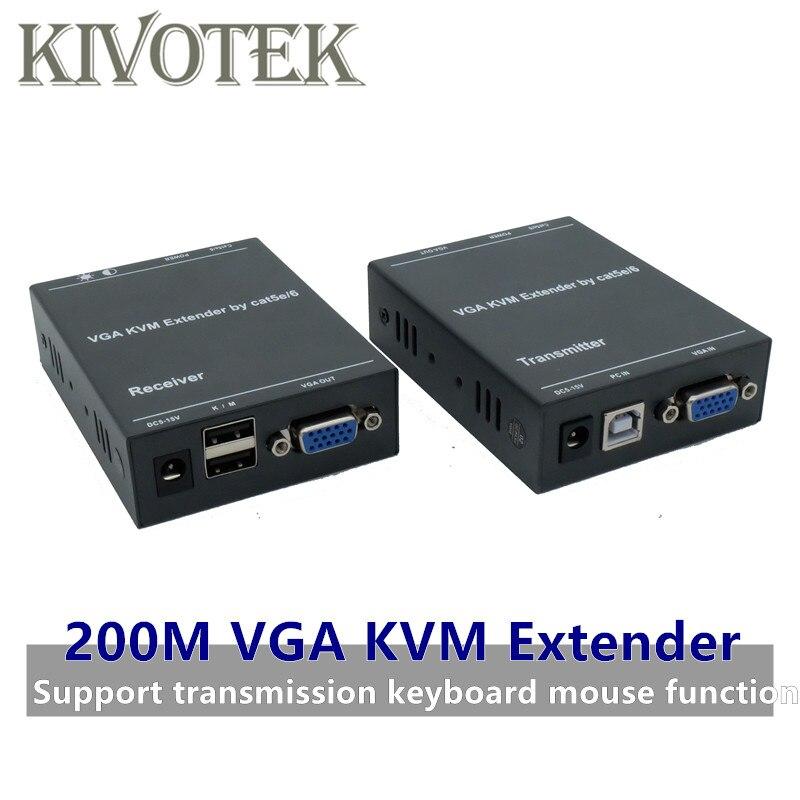 Réseau IP VGA KVM Extender 200 M par Cat5/6 adaptateur de câble 1080 P RJ45 VGA Transmitte récepteur Support clavier souris livraison gratuite
