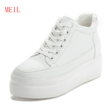 Female White Hidden Shoes 7CM High Heel Platform Sneakers 2019 Spring Casual Muffin Chunky Sole Wedges for