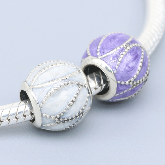 valentines day gif fits pandora essence charms bracelet 925 sterling silver beads white purple enamel charm - Pandora Valentines Bracelet