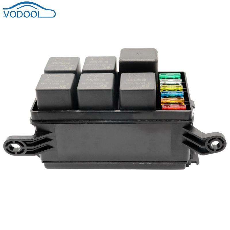Vodool Universal Relay Fuse Holder Box 12v Car Marine 6 Way Relay  6 Slot Blade Fuse Storage Box