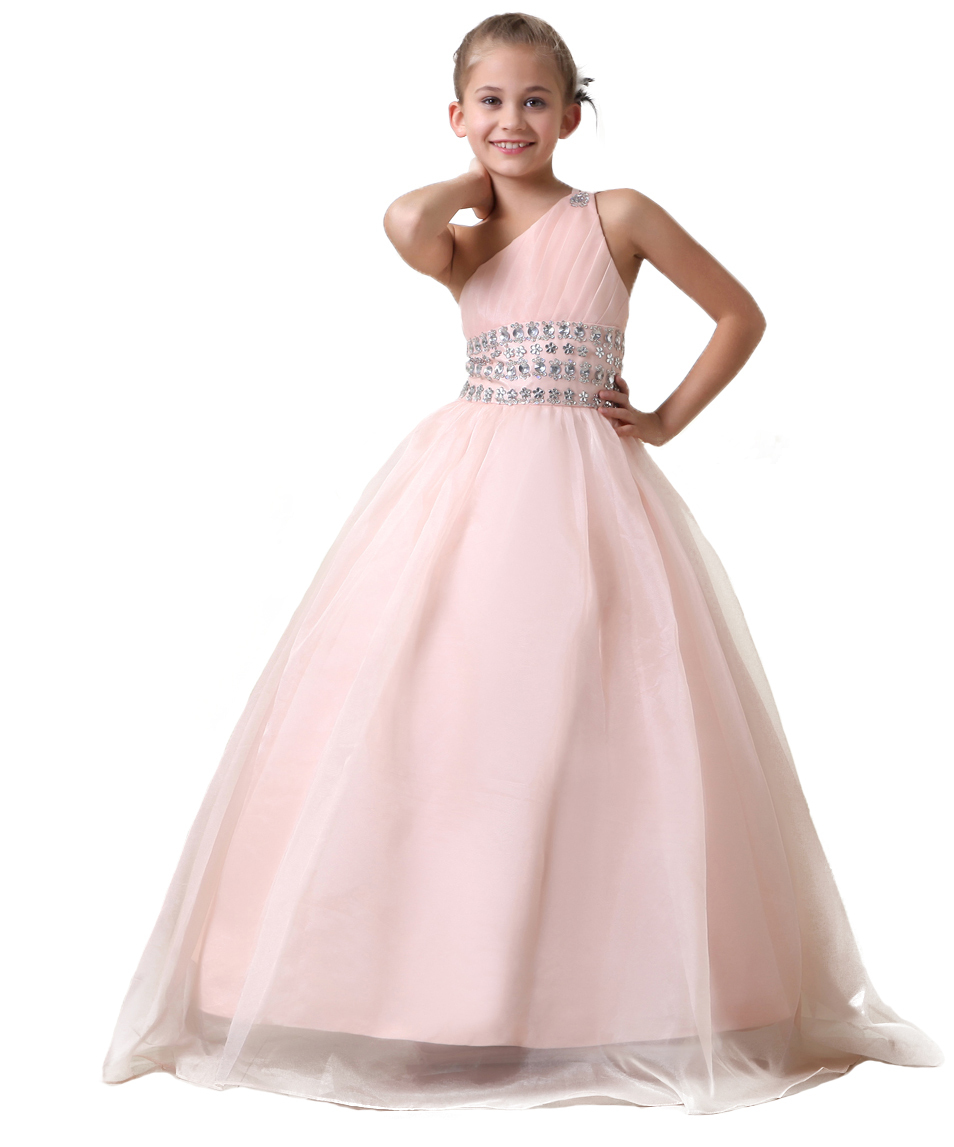 One shoulder pale pink crystal ball gowns flower girls dresses one shoulder pale pink crystal ball gowns flower girls dresses custom made little girls pageant dresses in flower girl dresses from weddings events on mightylinksfo