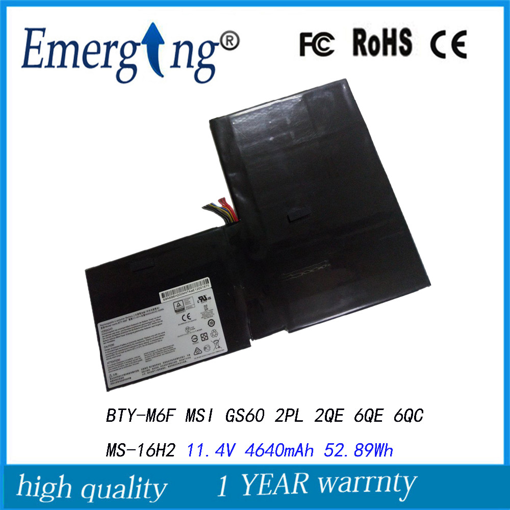 11.4V 52.89Wh New  Laptop Battery For  MSI BTY-M6F for MSI GS60 2PL 2QE 6QE 6QC MS-16H2 laptop keyboard for msi gp60 2qe 850ne nordic 2qe 852be 2qe 856be belgium 2qe 862jp japan 2qe 871cz czech 2qe 890xtr turkey