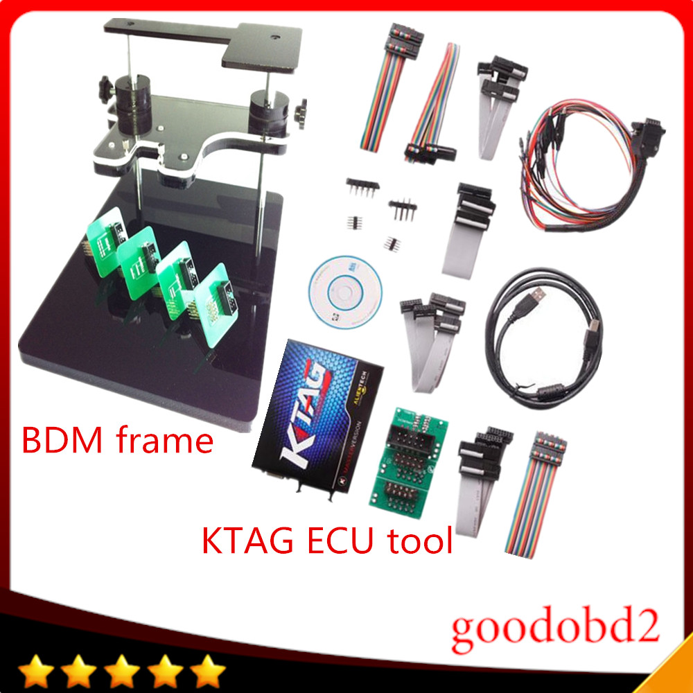 KTAG  K TAG ECU Programmer Tool ECU Chip 6 Languages + bdm frame with full adapter support more ecu Fits For FGTECH bdm100 kess 2017 newest ktag v2 13 firmware v6 070 ecu multi languages programming tool ktag master version no tokens limited free shipping