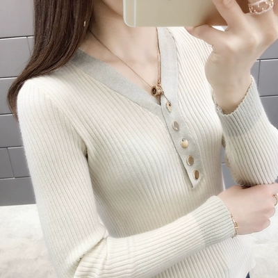 New 2019 spring and autumn v-neck button with bright silk stretch knit Sweater