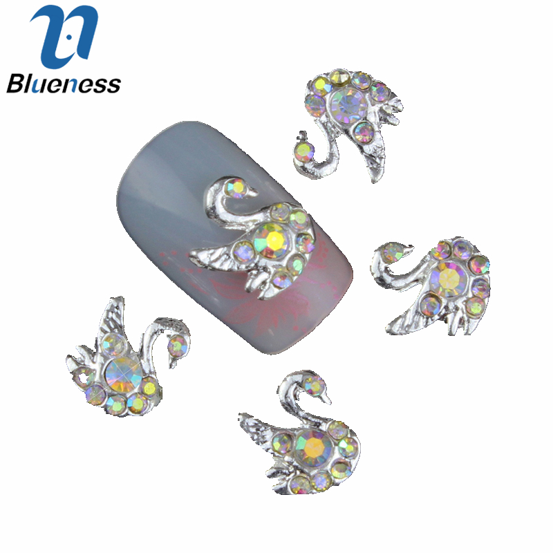 10 Pcs/Lot 3D Beauty Swan Design Stud Supplies Crystal AB Rhinestones For Manicure DIY Charms Nail Art Decorations TN925 24pcs lot 3d nail stickers decal beauty summer styles design nail art charms manicure bronzing vintage decals decorations tools