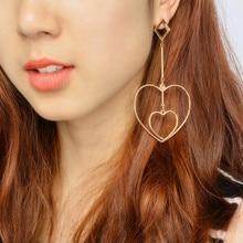 Nova Alta qualidade Da Moda jóias coração Brinco acessórios Femininos brincos Longos para as mulheres Queda brincos de Presente