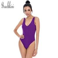 Swimwear Swimsuits Women Solid One Piece Monokini Swimsuit High Waist Knockout Bikini Set Double Banded