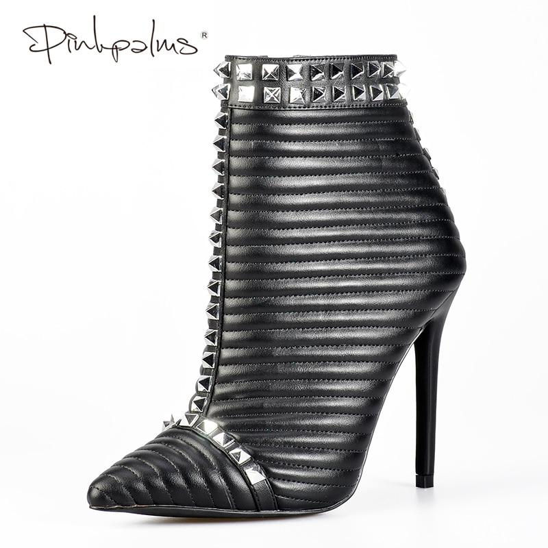 Różowy Palms buty zimowe damskie szpilki buty kobiety kostki buty czarne buty z zamkiem błyskawicznym nity szpilki botki w Buty do kostki od Buty na  Grupa 1
