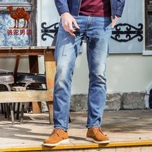 Верблюд мужские джинсы 2016 весна средний пояс хлопок полосой джинсы узкие брюки усов джинсы мужской X6X269108