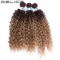DELICE Bruin Ombre Kinky Krullend Haar Weven 3 stks/pak Synthetische Hair Extensions Inslag Bundels Voor Vrouwen 16