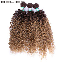 DELICE Black Brown Ombre Kinky Curly Hair Weaving 3pcs Pack Synthetic Hair Extensions Weft Bundles For