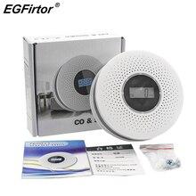 홈 보안 2 In 1 CO Smoke Detector Live Voice Carbon 일산화 Leakage 센서 LCD Display Co Alarm Sensor Smart 홈 Sensor