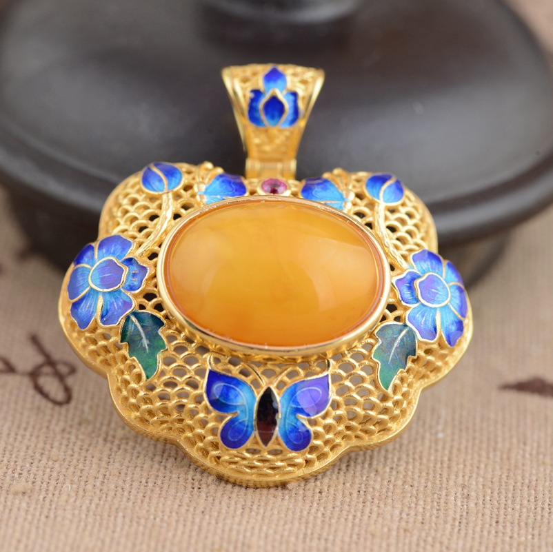 Deer king S925 Sterling Silver Pendant Jewelry beeswax blossoming pendant antique Shaolan craft female models s925 pure silver personality female models new beeswax