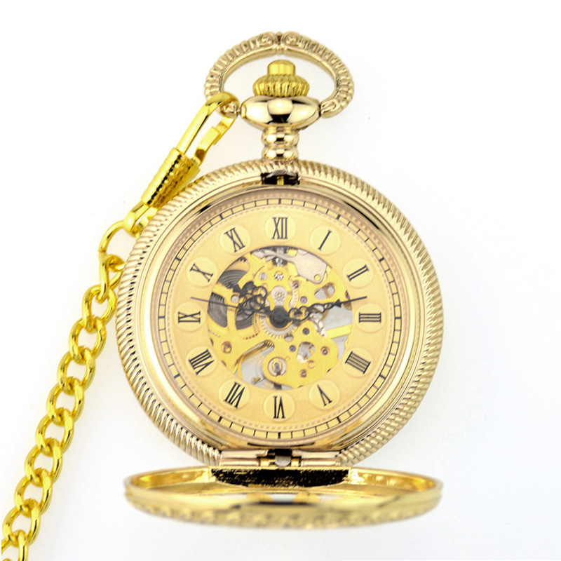 WOONUN Classic Watches Elegant Hand Wind Vintage Gold Golden Dial Retro Pendant Classic Steel Chain Mechanical Pocket Fob Watch