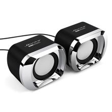 USB 2.0 Notebook Speakers Wired Stereo Mini Computer Speaker for Desktop Laptop Notebook PC MP3 MP4 3.5mm AUX IN black