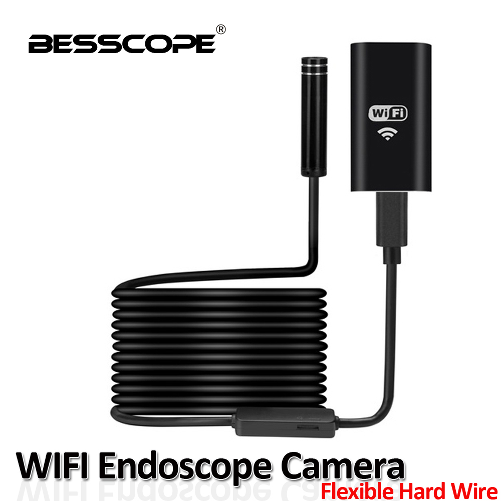 8LED 8MM 720P Wireless WIFI USB Endoscope 10M Snake Flexible Rigid Hard Cable For iPhone Android External USB Borescope Camera 2017 new 8led 7m hard flexible snake usb wifi android ios iphone endoscope camera iphone borecope pipe inspection hd720p camera