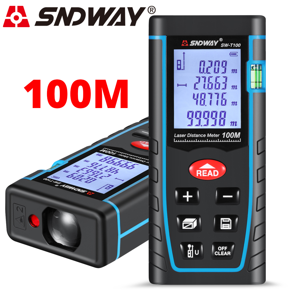 SNDWAY Laser-entfernungsmesser Roulette 40 mt 100 M Laser-distanzmessgerät Laser Abstand Meter Lineal Maßband