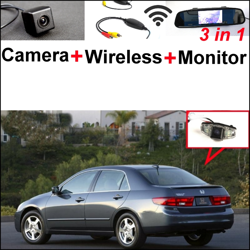 3 in1 Special Camera + Wireless Receiver + Mirror Monitor Easy DIY Backup Parking System For Honda Elysion Element Integra Pilot wireless pager system 433 92mhz wireless restaurant table buzzer with monitor and watch receiver 3 display 42 call button