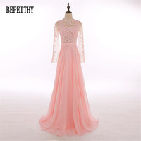 New Design Factory Direct Sales Chiffon Long Sleeve Prom Dresses Vestido De Festa Lace Top Elegant