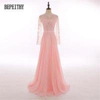 New Design Factory Direct Sales Chiffon Long Sleeve Prom Dresses Vestido De Festa Lace Top Elegant