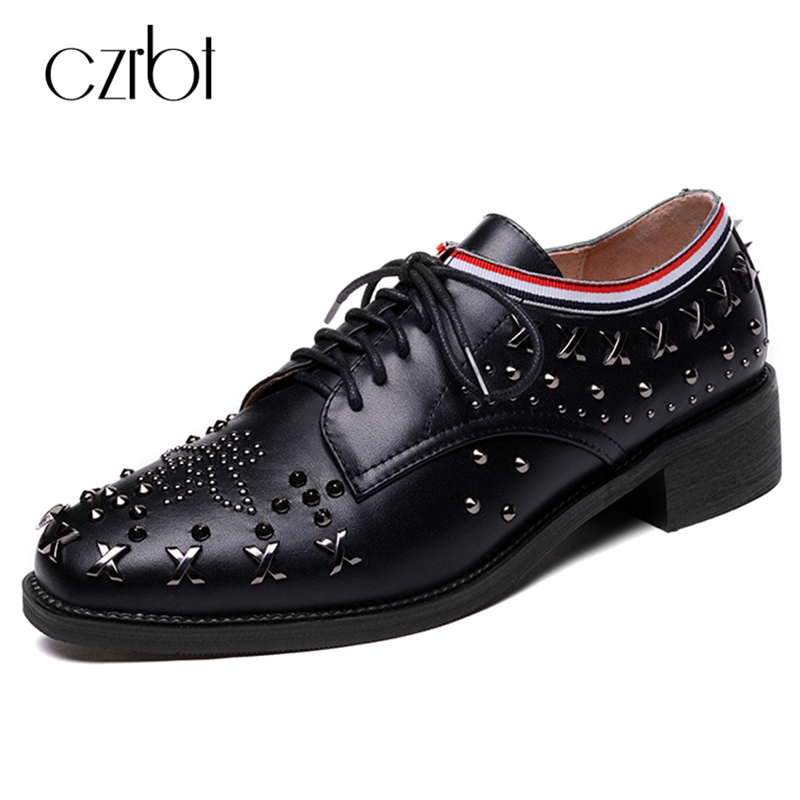 CZRBT Genuine Cow Leather Women Shoes Fashion Rivet Lace-Up Oxfords Shoes Spring Autumn High Quality Handmade Women Flat Shoes hot sale genuine leather shoes women soft comfortable lace up zapatos mujer high quality fashion oxfords pigskin women s shoes