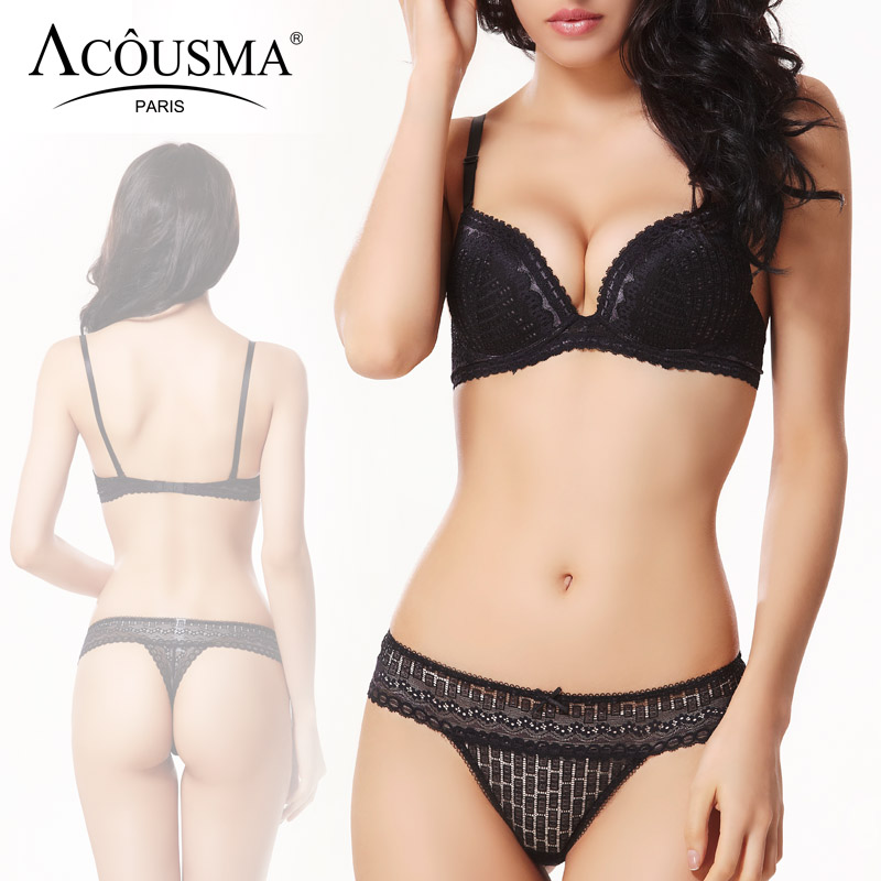 ACOUSMA Hot Women   Bra     Sets   Sexy Lace Transparent 3/4 Cup Push Up Female Brassiere Lingerie   Set   T Back Thongs Panty Seamless
