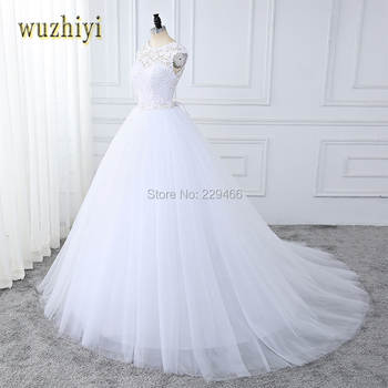 wuzhiyi Lace wedding dress vestidos de noiva  wedding gown for bride Custom made Sexy Backless Beading Sashes wedding dress 2018
