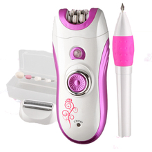 Kemei New Electric Women Shaver Epilator Rechargeable Hair Remover Cleansing Set