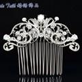 Elegant  Clear Zircon Rhinestone Crystals Flower Hair Comb Bridal Women Jewelry Wedding Hair Accessories CO2253R