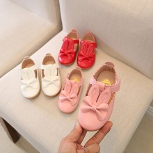 Детская однотонная кожаная обувь с заячьими ушками для девочек; коллекция года; обувь принцессы с бантиком-бабочкой; модные тонкие туфли