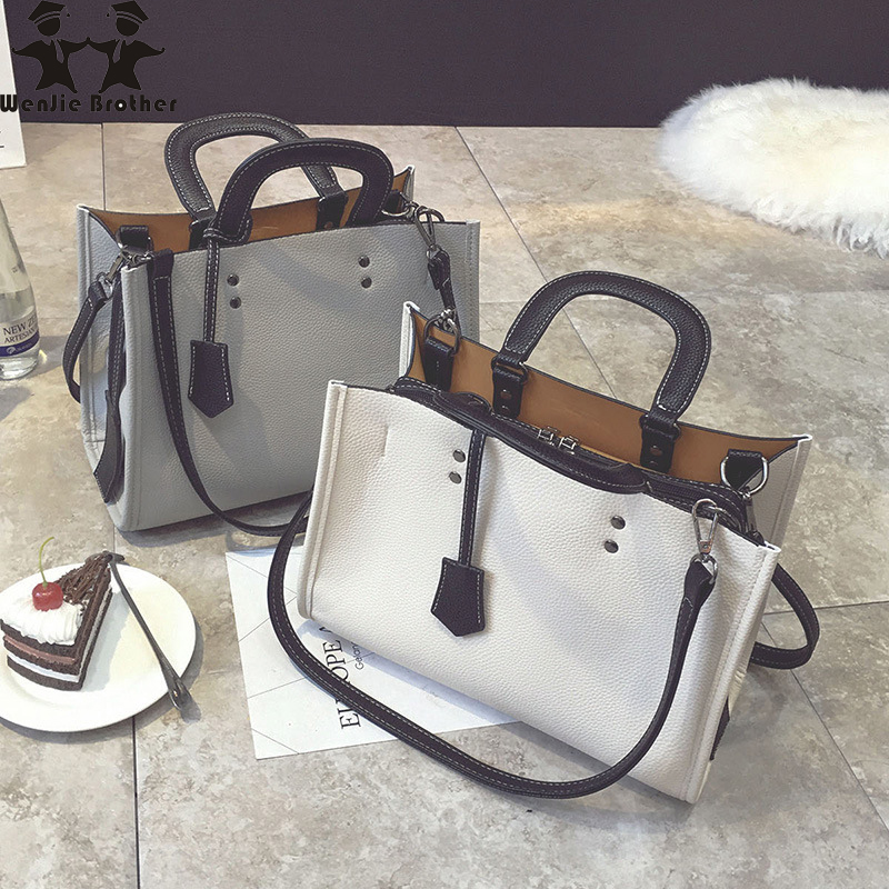 Wenjie Brother Women's Bag 2018 New Solid Color Handbag Casual Wild Large Capacity Fashion Shoulder Messenger Bag