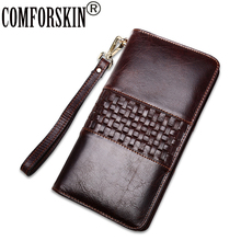 COMFORSKIN Brand Vintage Knitting Men Card Wallets Large Capacity 2018 Cowhide Leather Long Clutch Wallet Business Purses
