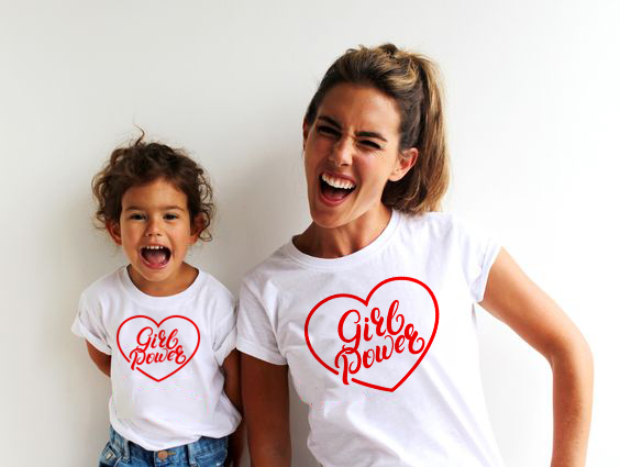 Mom Baby Girl Power Matching Shirt T-Shirt Family Outfit Clothes Summer Short Sleeve Casual T Shirt Family Look